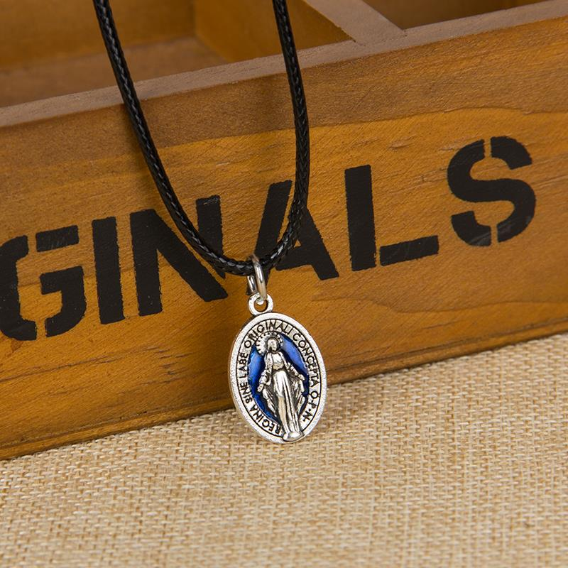 Blue cleat of the virgin Mary medal cross pendant chain Jesus holy icon religious center piece of creative diy jewelry(China (Mainland))