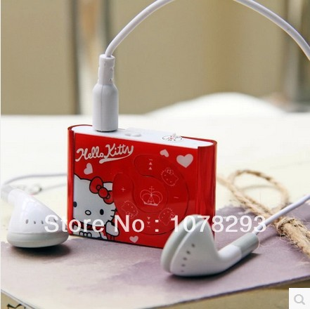 Wholesale 20pcs/lot Fashion Hello Kitty MP3 Player Support Max 8GB Micro SD / TF Card 5 Colors Best Gift For ChIldren (no box)(China (Mainland))