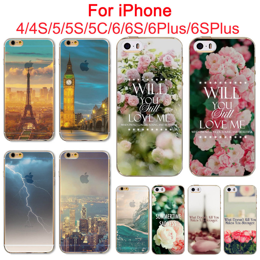 Amazing landscape Soft TPU Phone Case For Apple iPhone 4 4s 5 5S SE 5C 6