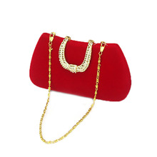 2016 Fashion Women Velour Evening Clutch Bags Ladies Luxury Vintage Bridal Wedding Party Chain Shoulder Clutches Diamond XA150H