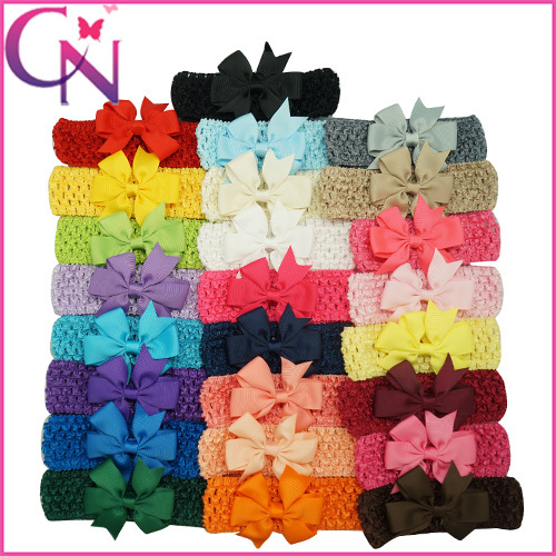 "Colorful Children Hair Accessory Baby Crochet Headbands With 3.5"" Pinwheel Grosgrain Bows Newborn Baby Headbands Free Shipping(China (Mainland))"