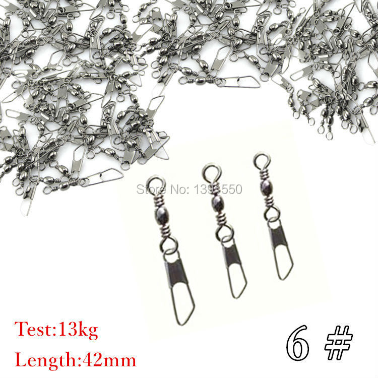 100pcs 6# 42cm Test 13kg Fishing Snap Swivels Brass Barrel Swivel with Stainless Steel Safety Snaps Fishing Accessories(China (Mainland))