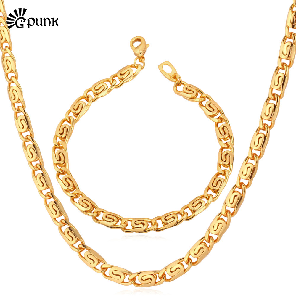 Jewelry Sets Fashion Hot New '18K' Stamp Gold Plated Chunky Bracelets Necklace Figaro jewelry Set Men Jewelry (VITO S5448)(China (Mainland))