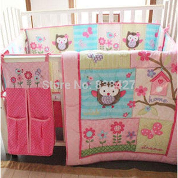 Ибп бесплатно 100% хлопок 7 шт. совы девочка постельных принадлежностей розовый вышивка ...