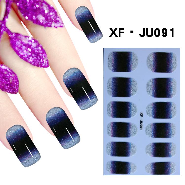 JU091 Gradient Blue Color Nail Foils False Nail Ultrathin Fake Decoration Stickers Adhesive Tape Beauty Nail Art Decals Tips(China (Mainland))