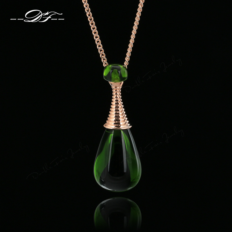 2015 New Green Rhinestone 'Perfume Bottles' Vintage Necklaces & Pendants Imitation Gemstone Jewelry For Women colares OBN225(China (Mainland))