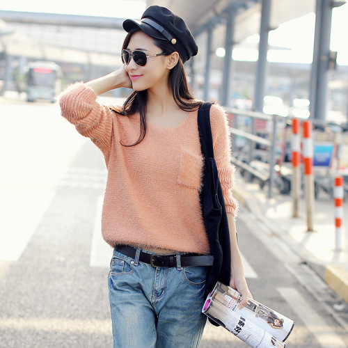 3139 real pictures model 2013 autumn solid color o-neck pocket wool knitted sweater - jim yue's store
