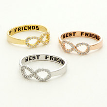 2015 New Fashion Hot Rose Gold Crystal Infinity Rings Best Friends Rings For Women Silver Engraving Jewelry(China (Mainland))