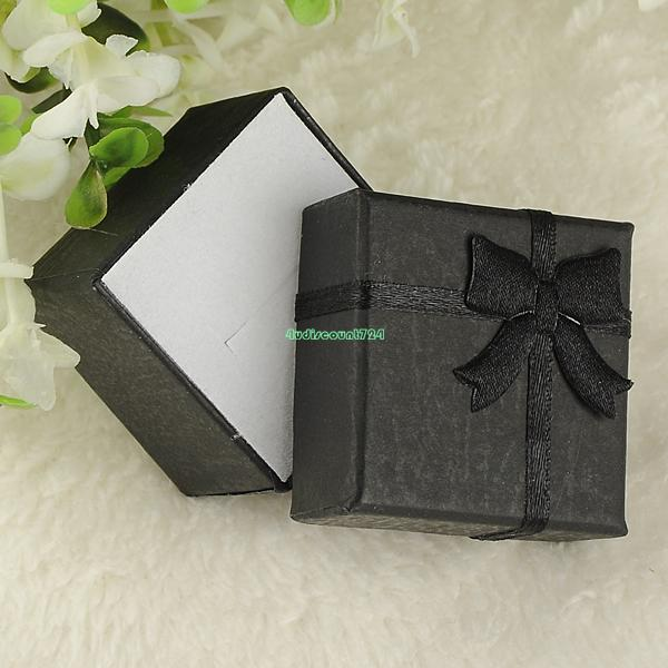 4*4*3cm Jewelry Boxes And Packaging Paper Square Package Jewelry Necklace Bracelet Present Gift Box Black Bow Case ES4538(China (Mainland))