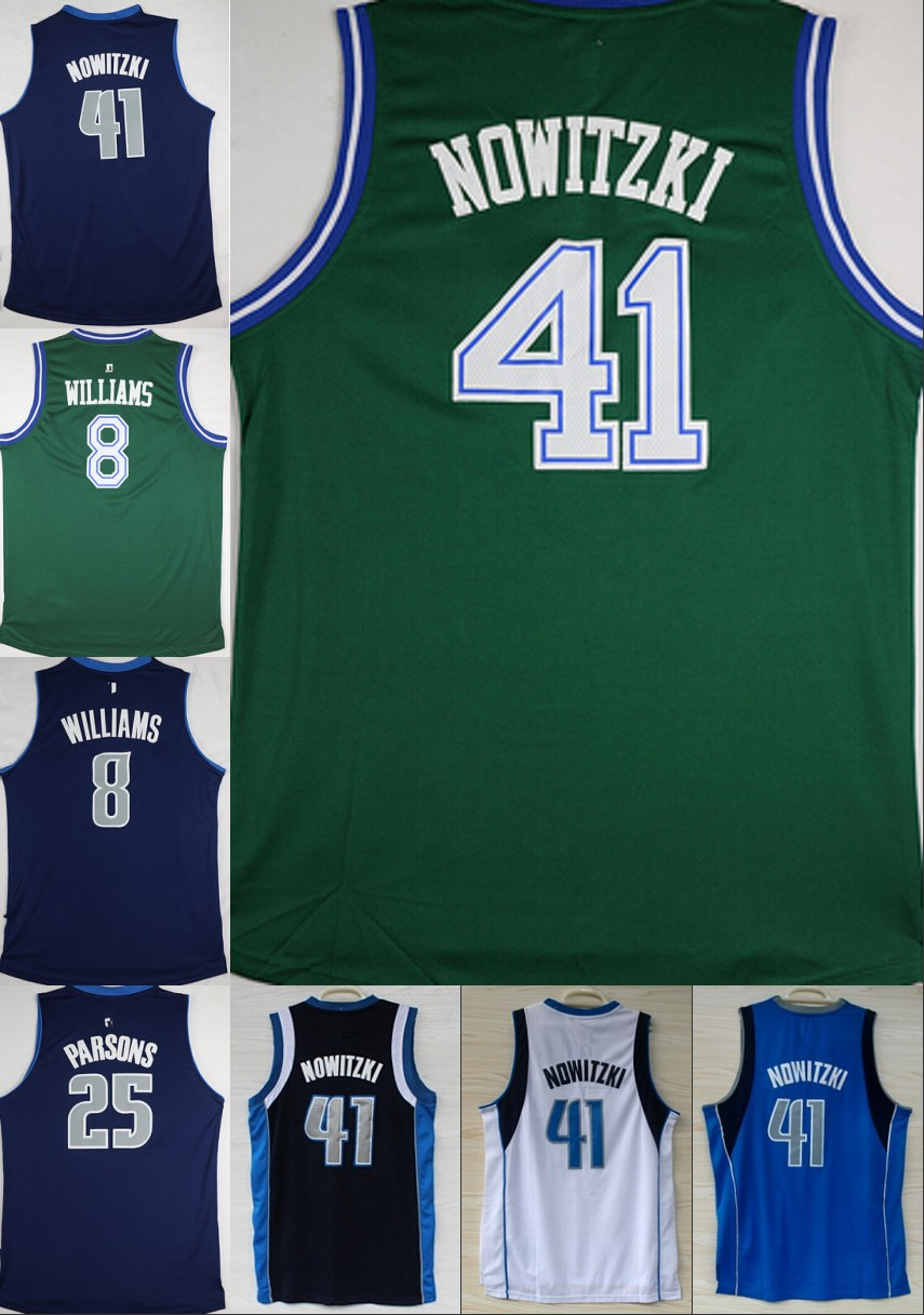 Cheap #41 Dirk Nowitzki jersey 8 Deron Williams 25 Chandler Parsons Green White Blue Basketball Jersey Embroidery Logos(China (Mainland))