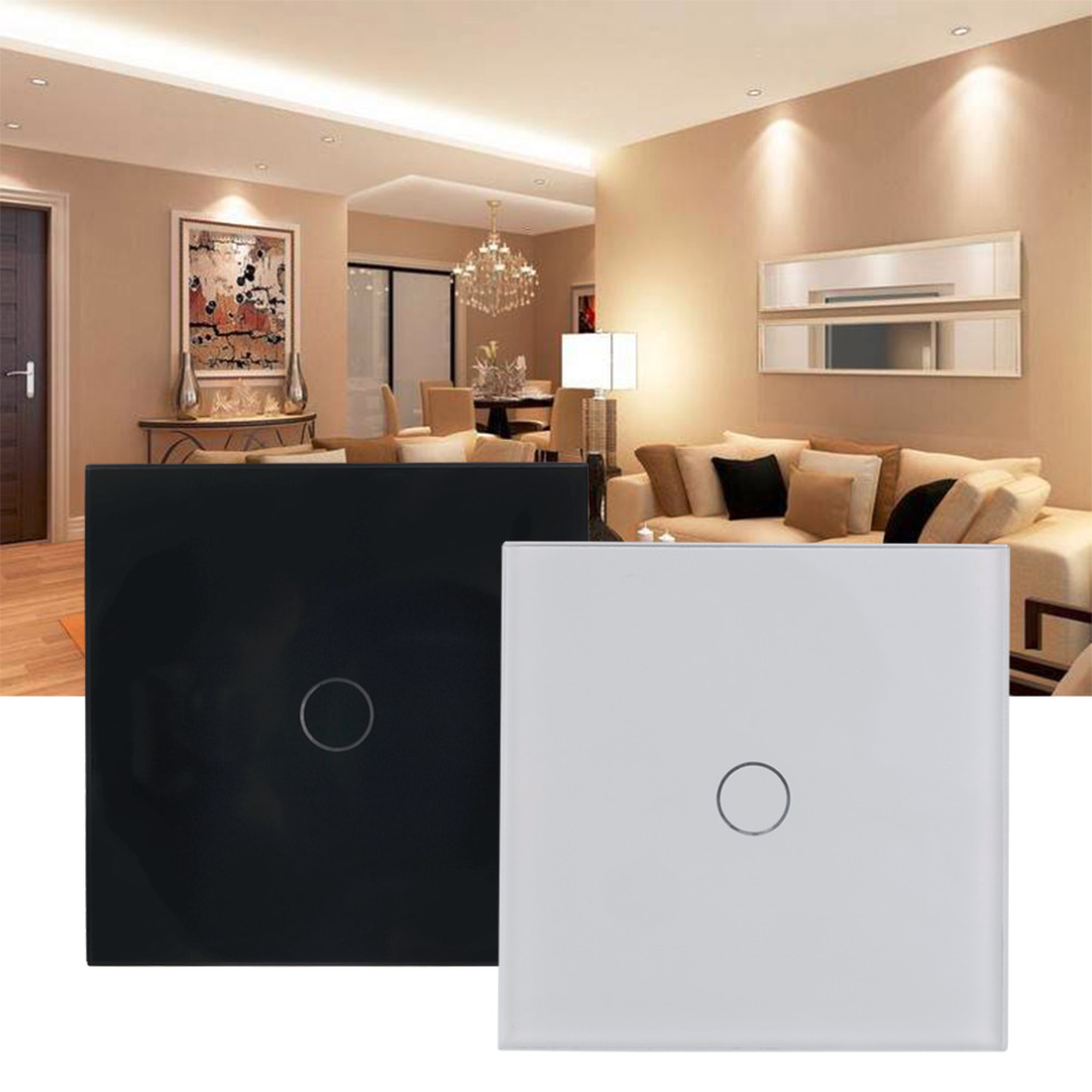 High Quality 2016 NEW Single FireWire Touch Switch for LED Light Bulb Crystal Glass Black White 2 Colors Touch Panel Wall Switch<br><br>Aliexpress