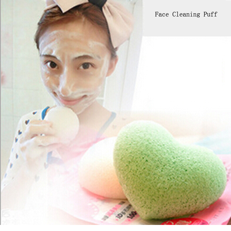 Natural Face Cosmetic Puff Soft Sponge Facial Heart Makeup Sponge Tools Cosmestic Beauty Health Cleansing Puff Foundation Cheap(China (Mainland))