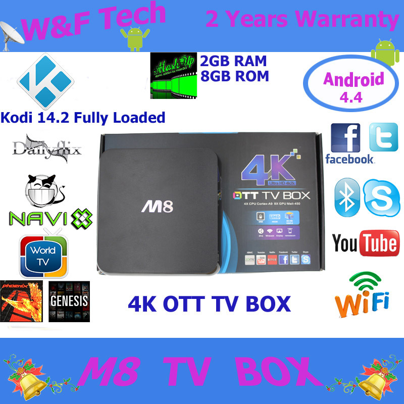 5PC/Lot M8 tv box android 4.4 4K Amlogic S802 2gb/8gb m8 android tv box quad core XBMC fully loaded(China (Mainland))