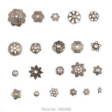 100Pcs MIX style Antique tibetan silver Petal Flowers Leaves Beads End Caps Fit Bracelet for Jewelry
