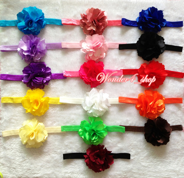 """Hair accessories 10pcs/lot, 3.3"""" Multi Colored chiffon satin Flower infant baby kids headband hairband Christmas gift low price"""