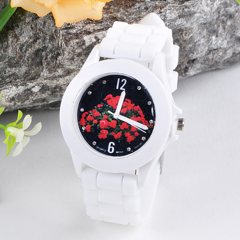 New Casual Watch Women Clocks Silicone Rubber Jelly Blue Floral Quartz Analog Sports Wrist Watch Relogio Feminino Free Shipping