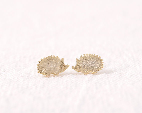 New Arrival Hedgehog  animal style Stud Earrings Simple Stud Girls stud in color gold/silver/rose gold ED012<br><br>Aliexpress