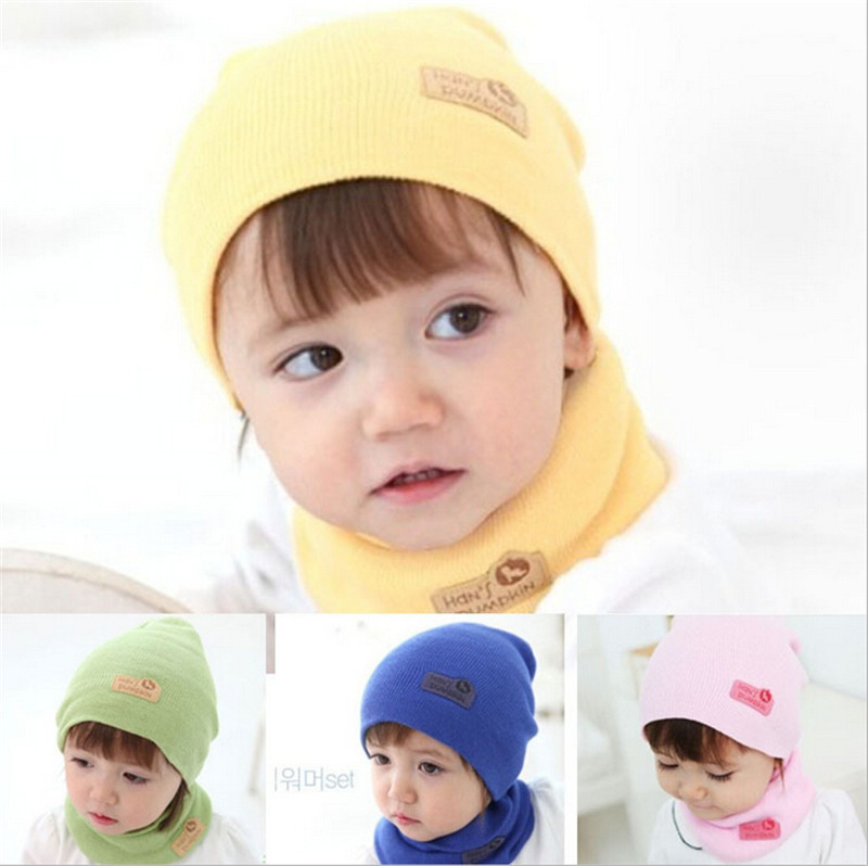 High Quality 2015 New Fashion 6ColorsCute Winter Baby Cap Girls/Boys Children Knitted Hat and Scarf Set(China (Mainland))