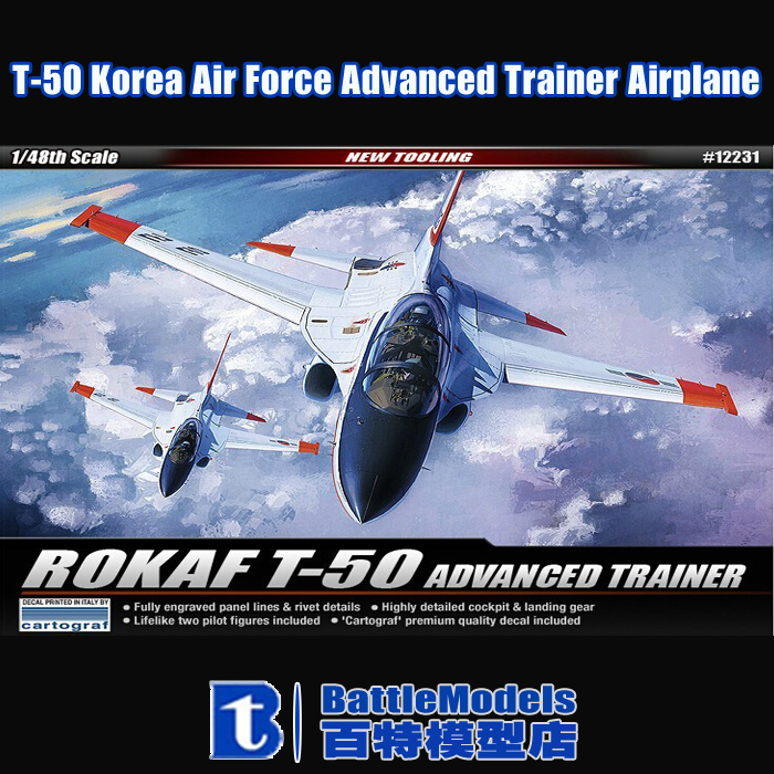 Academy MODEL 1/48 SCALE military models #12231 T-50 Korea Air Force Advanced Trainer Airplane plastic model kit(China (Mainland))