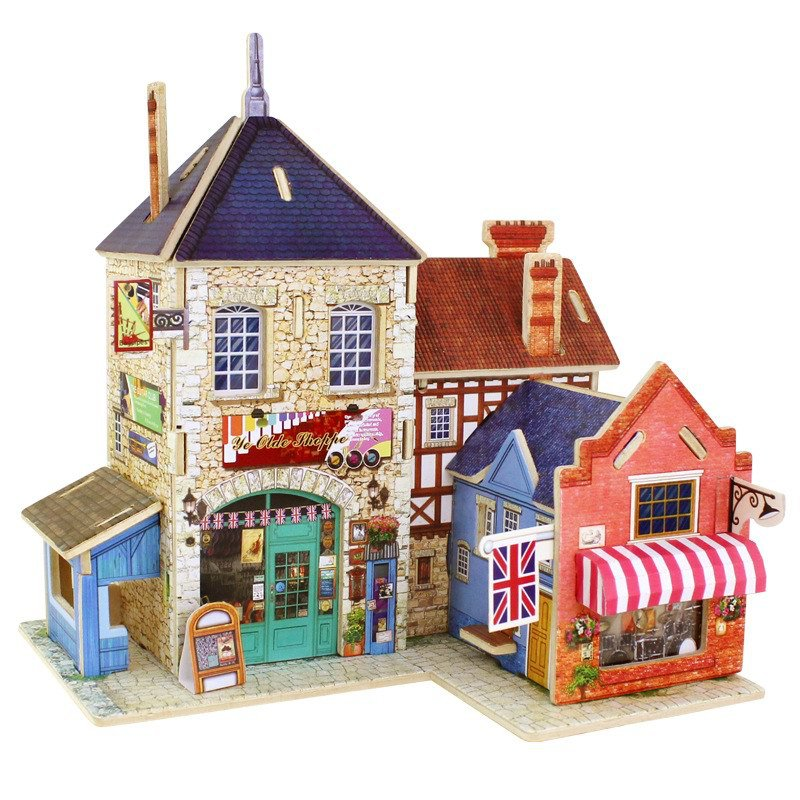 3D Puzzle UK Wooden Puzzle Toys Jigsaw Model Handmade 4 Pieces DIY Wooden Model Construction Buildings Educational Toys(China (Mainland))