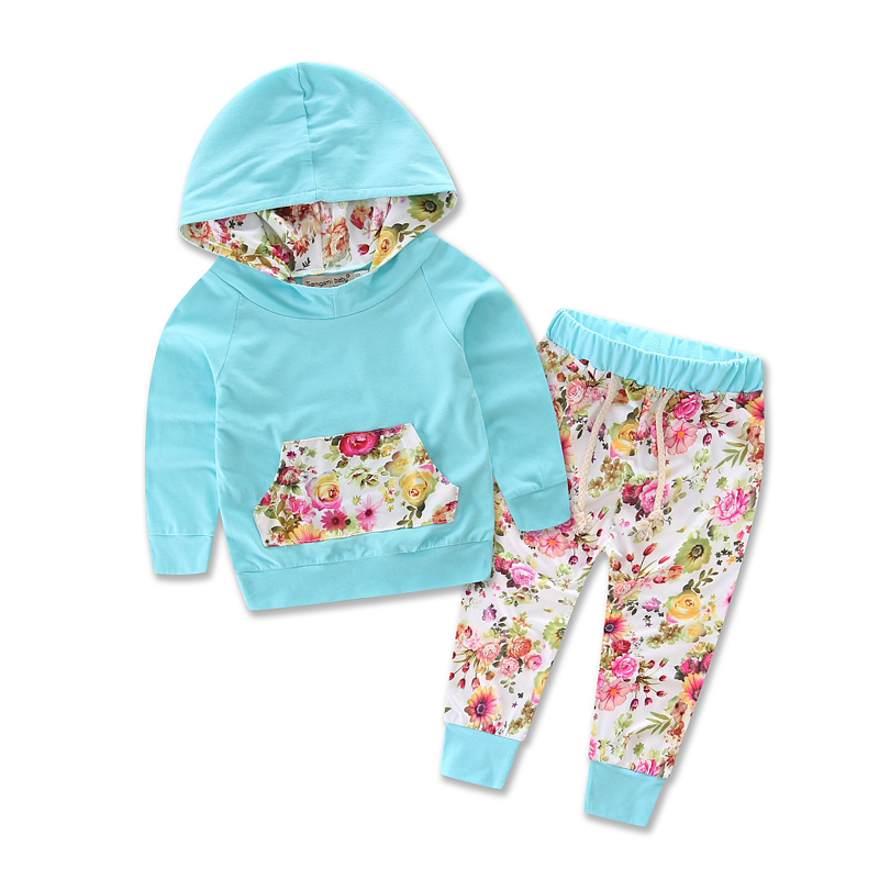 Hot Sale Floral Baby Girls Long Sleeve T-shirt+Flower Long Pants Outfits 2PCS Hooded Clothes Set