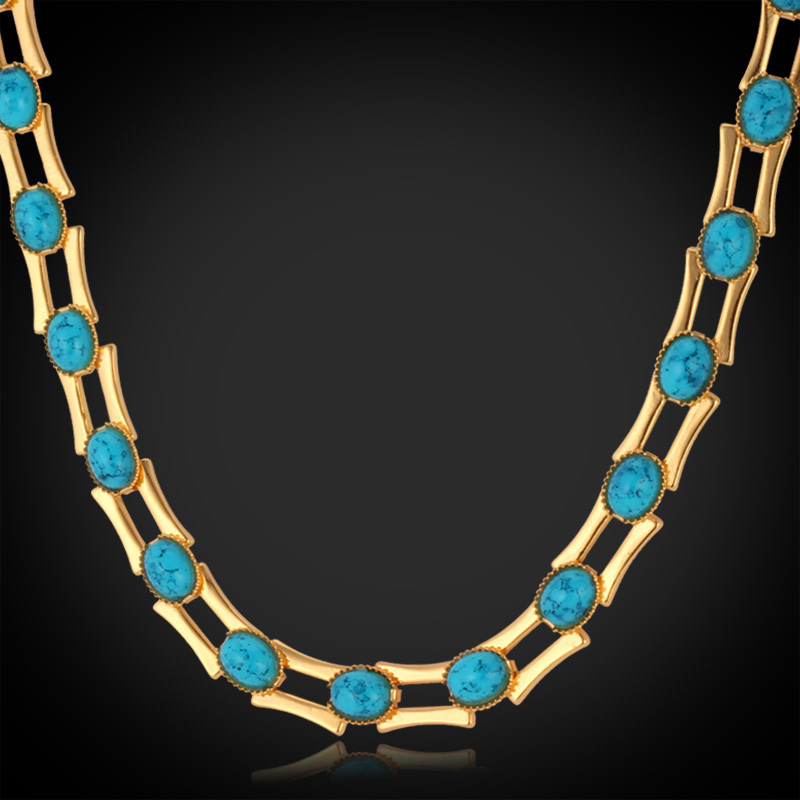 Vintage Chunky Turquoise Choker Necklace For Woman/Man 18K Gold / Platinum Plated Necklaces & Pendants Turkey Stone N613(China (Mainland))