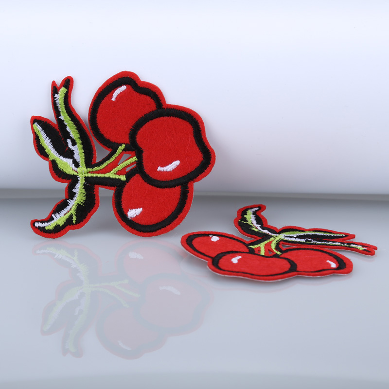 Free shipping 10pcs/lot red Cherry embroidered logo patch appliques iron on patch Badge Clothes Patches for clothing(China (Mainland))