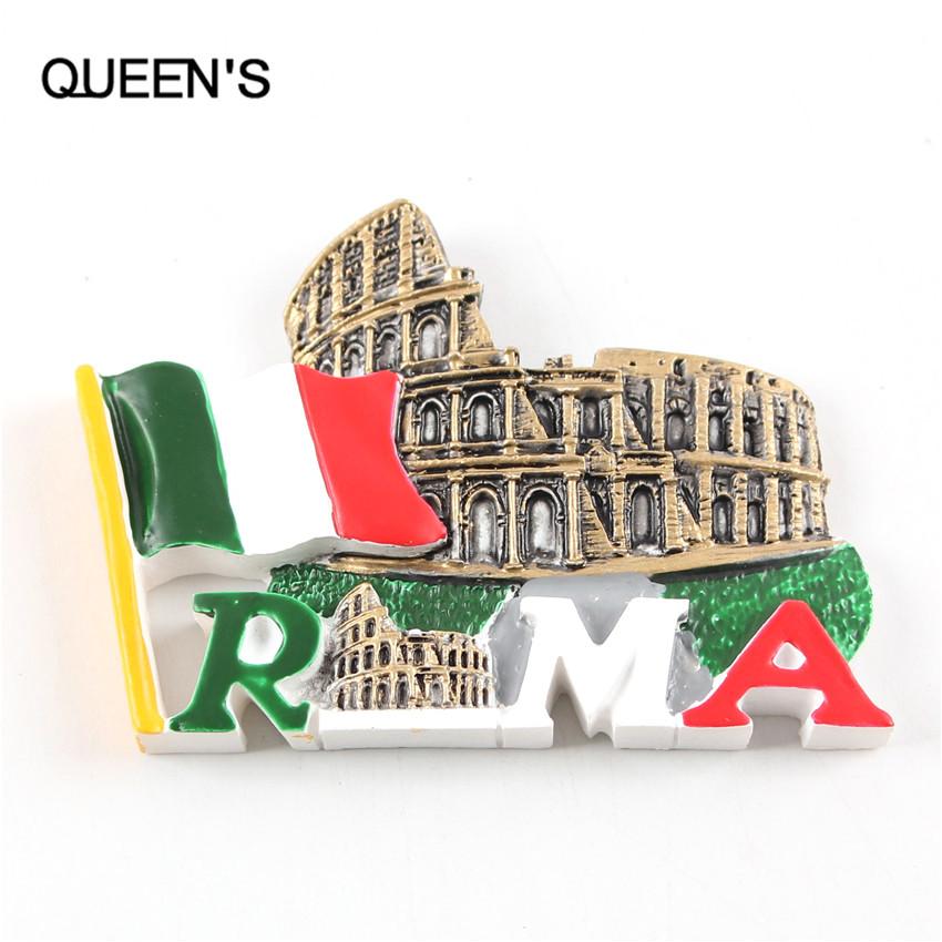 Fashion Resin Italy Flag City Rome Colosseum Home Decor Fridge Magnet 7.5*5CM Crafts Souvenir Refrigerator UN Magnete Sticker(China (Mainland))
