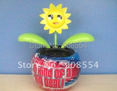 Price-off Promotion solar powered flip flap pot print with swaying flower 10pcs per lot Free shipping via China post air mail(China (Mainland))