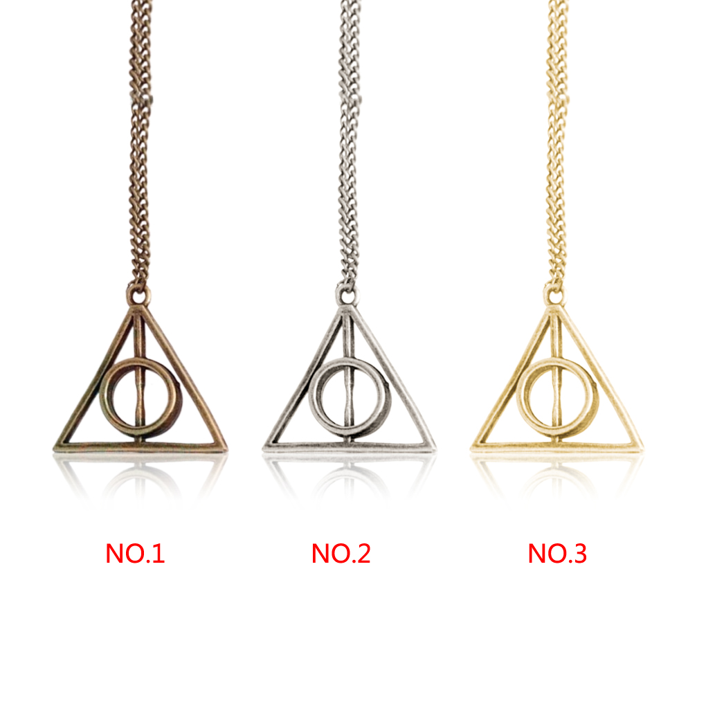 Hot Sale pendant Triangle Hot movie harry potter -deathly hallows silver Long Chian necklace as gifts(China (Mainland))