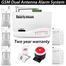 Home Voice Security Tri-band Antenna Wireless GSM Alarm System Dual Antenna with Russian Manual PIR Motion Sensor wireless alarm(China (Mainland))
