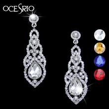 Silver Austrian Crystal Bridal Earrings Long Dangling Earrings for Women Wedding Bride Party Earrings Fashion Jewelry ers-g95(China (Mainland))