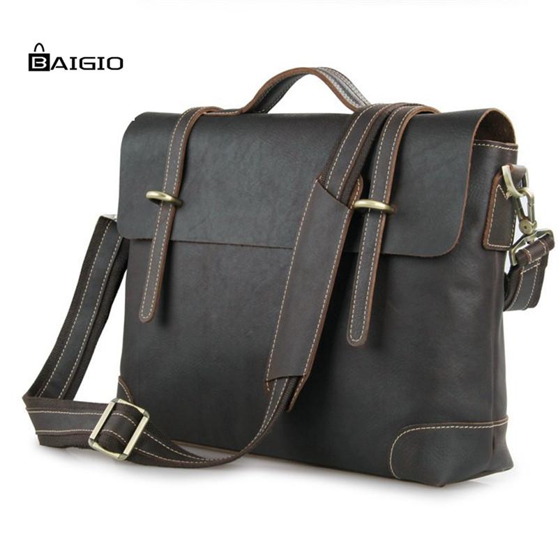 "Baigio Men Leather Briefcase 16"" Laptop Business Bag Brand Designer Men Messenger Bag Vintage Italian Style Tote Shoulder Bags(China (Mainland))"
