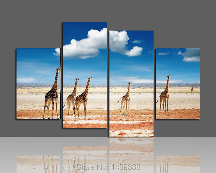Free shipping sun giraffe landscape Oil Painting Printing painting on canvas For Living Room Wall Art 5pcs/set Framed F/380(China (Mainland))