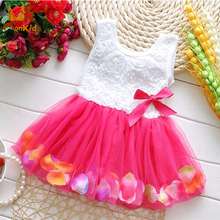 MK 2016 Summer baby clothes Kids Girls Beautiful Flower Dress Sleeveless Mini Tutu Princess Dress with Baby Girl Dress 6 colors(China (Mainland))