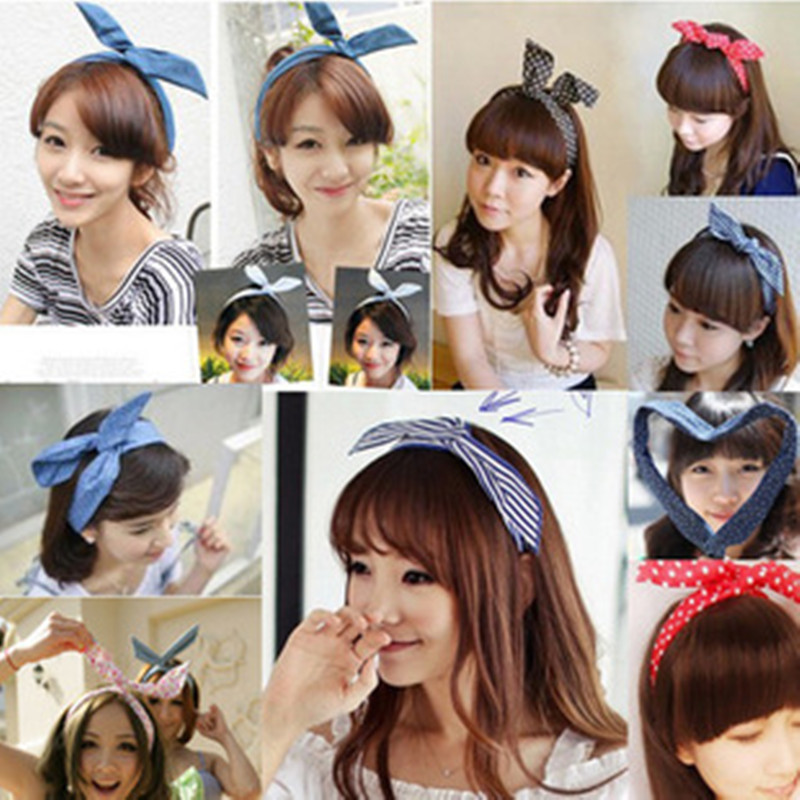 Free shipping summer style hair accessories rabbit ears scrunchy hair bands bow floral small fresh wire hairpins headband(China (Mainland))