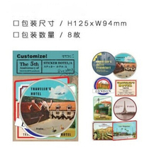8Pcs/Pack New Traveler Notebook Vintage Stamp Decoration The Hotel Stickers Stationery Gift H0254