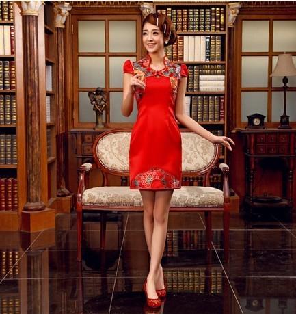Free shipping Bride wedding cheongsam evening dress red short dress retro Chinese style cheongsam improved