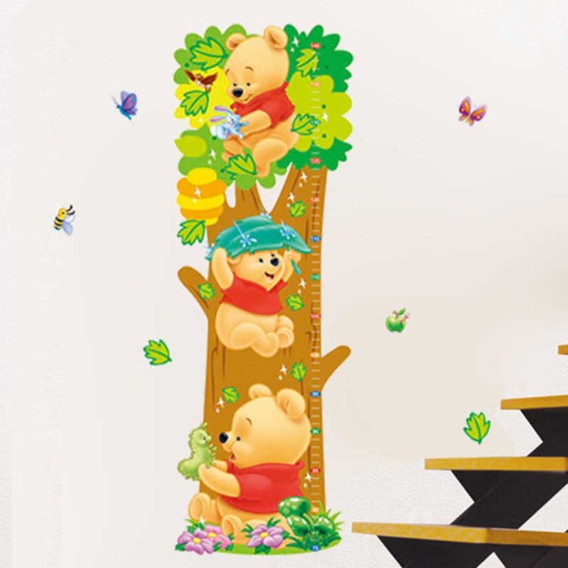 Free shipping Ruler Kids wall stickers Lovely WTP Bear & butterflies Kids Growth Chart Height wall sticker Tower home decoration(China (Mainland))