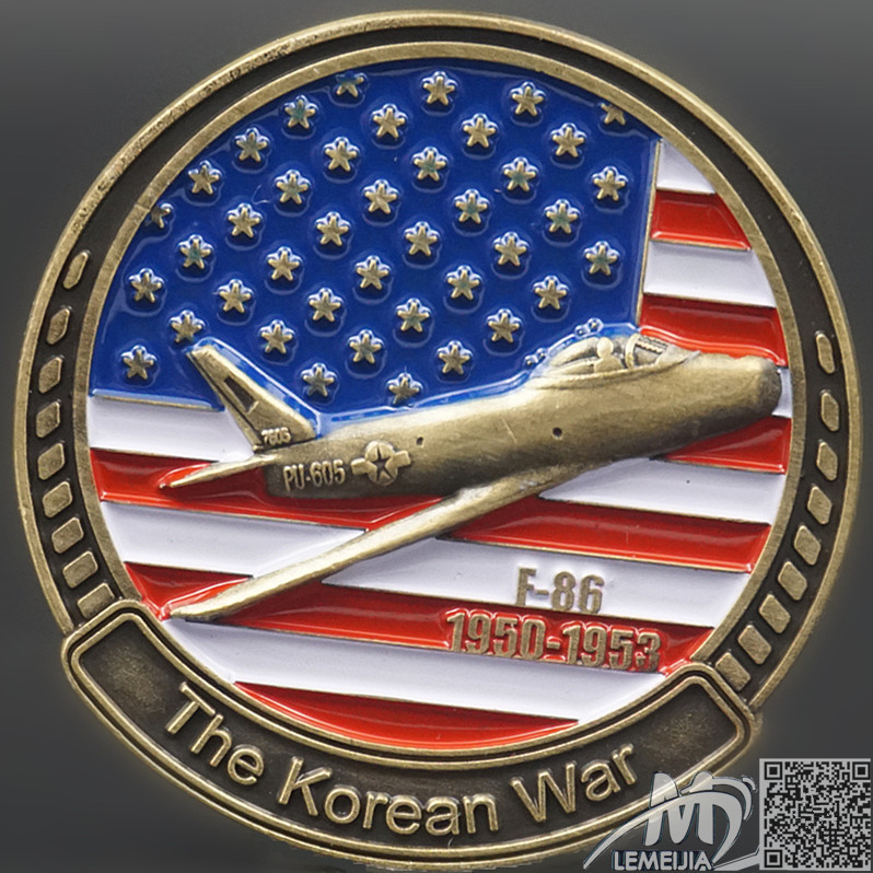 For Sale F-86 The Korean War Anniversary Coins High Relief With Round Box F86 Usa Military Coin For Military Funs Free Shpping(China (Mainland))