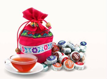 Free Shipping Hot Sale Chinese Mini Puer Tea Different Flavors Slimming Mini Puerh tea with Colorful Gift Bag 50pcs/bag