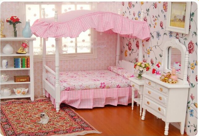 12 dollhouse miniature bedroom furniture canopy bed dresser 3pc in
