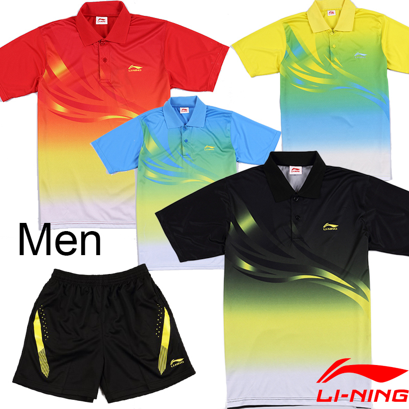 Wholesale 2014 NEW LiNing men's table tennis clothing / Badminton suit ( shirt+shorts or shirt ) / Li-Ning Badminton Clothes(China (Mainland))