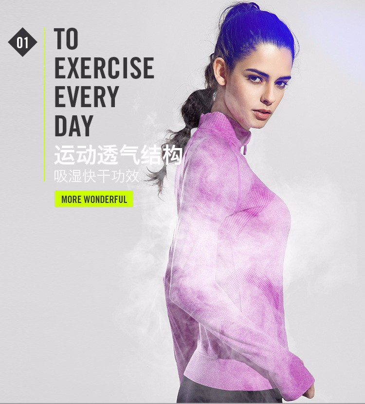 2016 Female Zip Sweatshirt Women Fashion Sports T-shirt Running Yoga Fitness Fast drying Girl Lady Fitness Clothing Workout (1)