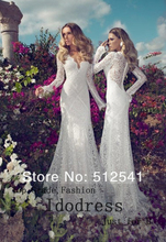 Diva Design Long Sleeve Lace Wedding Dresses 2015 Sheath Sexy V Neck Applique Satin Sweep Train yk8R096(China (Mainland))