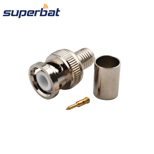 Superbat 5X BNC Crimp Plug male connector for Cable 50-5 striaght RF Coax Connector Nickel