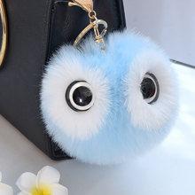 Bonito Coelho Macio Artificial Pom Panda Saco Mulheres Grandes Olhos Carro Chaveiro Charme Acessórios de Moda Jóias(China)