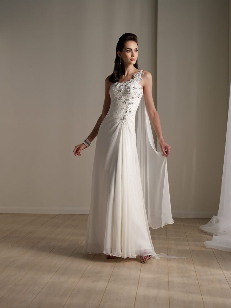 American Style Chiffon One Shoulder Wedding Dress With Beading 111177 In Wedd