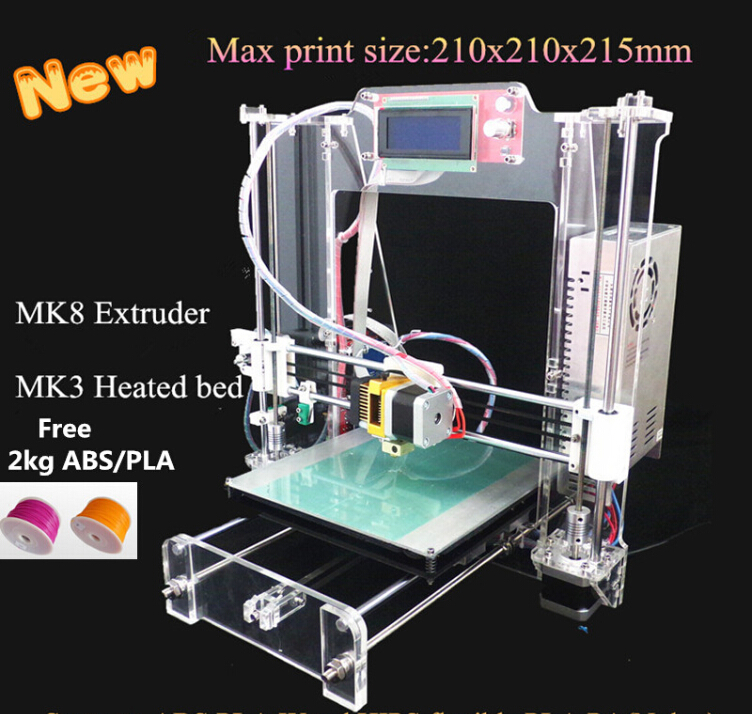 New updated Reprap Prusa i3 He3D XI3 DIY 3d Printer kit full acrylic Machine with 2004