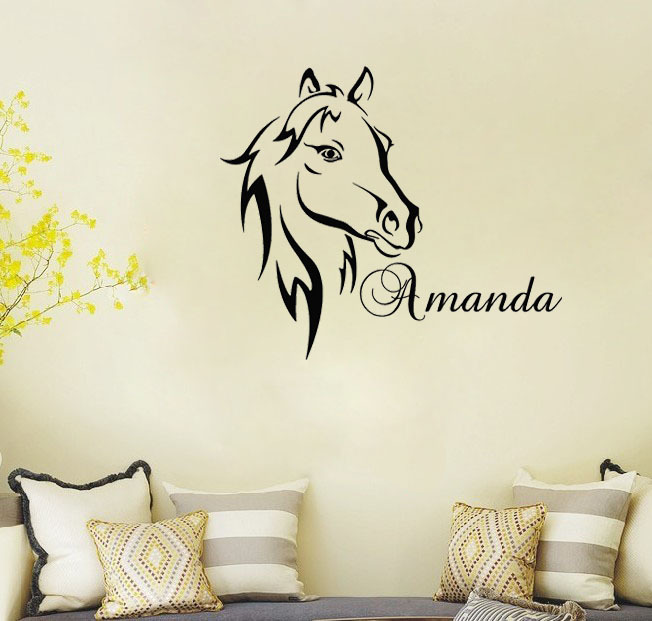 Custom Name Text Horse Head Say Quote Word Lettering Art